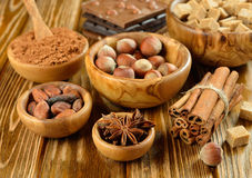 Nuts, spices and cocoa Royalty Free Stock Photo