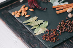 Nuts, spices and food Royalty Free Stock Photography