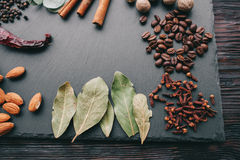 Nuts, spices and food Stock Photo