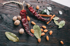 Nuts, spices and food Stock Image