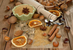Nuts, spices and sugar Stock Photos
