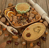 Nuts, spices and sugar Stock Photography