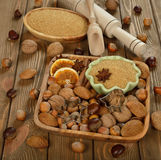 Nuts, spices and sugar Stock Image
