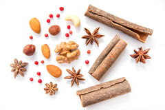 Nuts and spices on white background Royalty Free Stock Photos