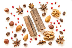 Nuts and spices on white background Stock Image