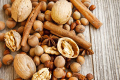 Nuts and Spices on Wooden Background Royalty Free Stock Images