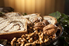 Nuts and sponge cake. Traditional food decorating christmas table Stock Photo