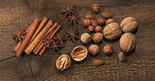 Nuts, star anise and cinnamon sticks Stock Images