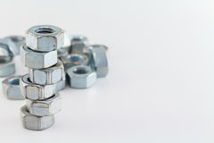 Nuts Steel On White Background Stock Photo