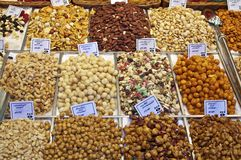 Nuts, sweets and Almonds in Barcelona La Boqueria Royalty Free Stock Image