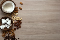 Nuts on the table. Top view, copy space Royalty Free Stock Photos