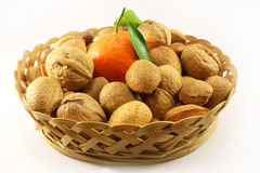 Nuts and tangerines Royalty Free Stock Photo