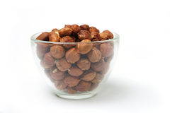 Nuts in transparent bowl Royalty Free Stock Photography