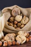 Nuts und getrocknete Feigen Lizenzfreies Stockbild