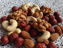 Nuts. Variety of nuts, close up Stock Photos