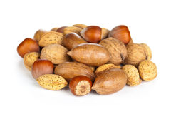 Nuts. Various nuts on white background. Macro shot Royalty Free Stock Photo