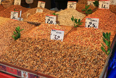 Nuts vendor in Bursa outdoor market royalty free stock images