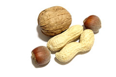 Nuts, walnut and peanuts Royalty Free Stock Photo