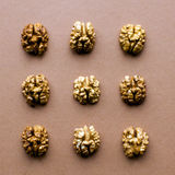 Nuts: Walnut. Walnuts on a brown background. Top view Royalty Free Stock Images