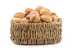 Nuts, walnuts, hazelnuts, almonds. Mixed, on white background, isolated Royalty Free Stock Image