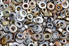 Nuts and washers in a drawer. Of hardware Stock Image