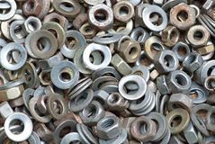 Nuts and washers in a drawer Stock Image