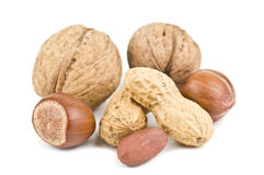 Nuts on white Stock Photography