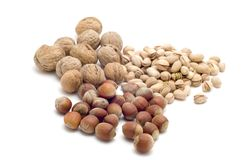 Nuts on white background Stock Images