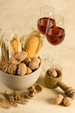 Nuts and wine Stock Photos