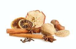 Nuts and winter spices Stock Photography