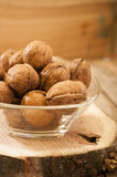 Nuts on wooden background Stock Photo