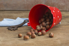 Nuts on a wooden background. Close up royalty free stock images