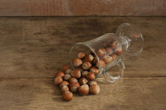 Nuts on a wooden background. Close up stock image