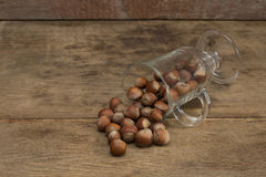 Nuts on a wooden background. Close up stock photography