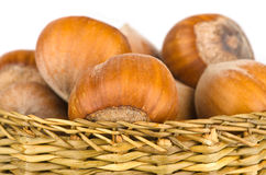 Nuts in wooden basket Royalty Free Stock Image