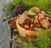 Nuts in a wooden bowl Stock Image