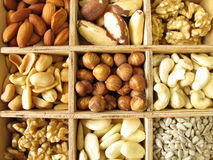 Nuts in wooden box Stock Images