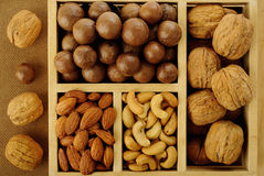 nuts in wooden box Stock Photo