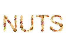 Nuts word from seeds  Royalty Free Stock Photos