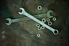 Nuts and wrenches Stock Photography