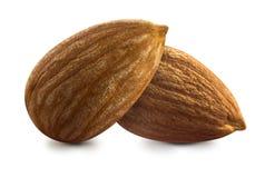 Nuts Zusammensetzung von zwei Mandel lokalisiert auf weißem Hintergrund Stockfoto