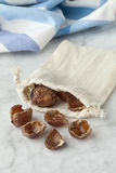 Nutshells of soapnuts in a cotton bag Royalty Free Stock Images