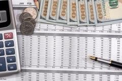 Nutsrekening met pen, calculator en ons dollar Stock Afbeeldingen