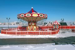 Nutteloze rotonde in de winter Kazan, Rusland Stock Afbeelding