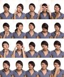 Nuttige gelaatsuitdrukkingen. De gezichten van de acteur. Stock Foto's