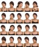 Nuttige gelaatsuitdrukkingen. De gezichten van de acteur. Stock Foto