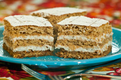 Nutty cake with sour creme Stock Photos