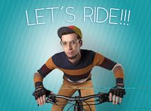 Nutty cyclist on his bike Stock Images
