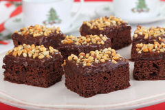 Nutty Fudge Brownies Royalty Free Stock Photos