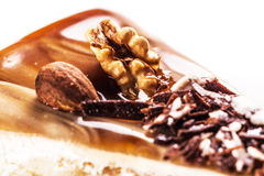 Nutty piece of cake close-up Royalty Free Stock Photo